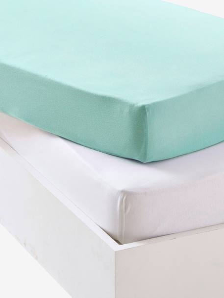 Baby Pack of 2 Fitted Sheets in Stretch Jersey Knit Blue+GREEN MEDIUM SOLID+Grey+Pale pink - vertbaudet enfant