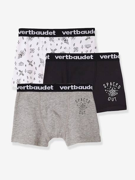Pack of 3 Stretch Boxer Shorts for Boys BLUE DARK SOLID WITH DESIGN+GREY MEDIUM MIXED COLOR - vertbaudet enfant