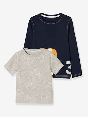 Vertbaudet Sale-Boys-Pack of 2 Printed Short-Sleeved + Long-Sleeved Tops for Boys
