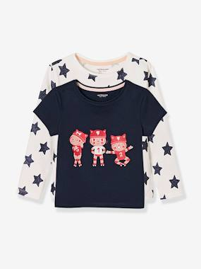 Collection Vertbaudet-Fille-Lot de 2 t-shirts fille imprimés en pur coton.