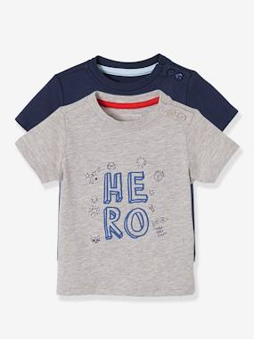 Schoolwear-Baby-Pack of 2 Baby Boys' Long-Sleeved T-Shirts with Decorative Motifs