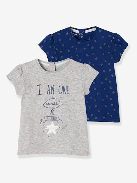 Pack of 2 T-Shirts with a Charming Motif, for Baby Girls BLUE DARK TWO COLOR/MULTICOL+PINK DARK 2 COLOR/MULTICOL OR - vertbaudet enfant
