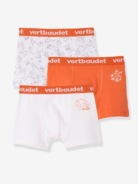 Pack of 3 Stretch Boxer Shorts for Boys WHITE LIGHT SOLID WITH DESIGN - vertbaudet enfant