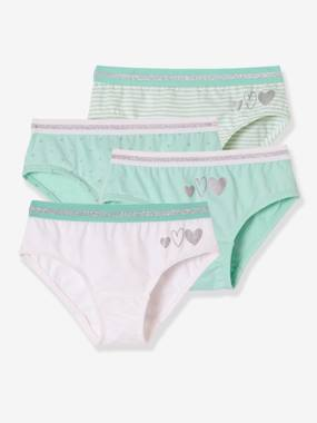 Girls-Underwear-Knickers-Pack of 4 Stretch Briefs for Girls