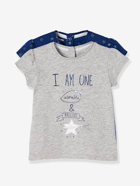 Schoolwear-Baby-Pack of 2 T-Shirts with a Charming Motif, for Baby Girls