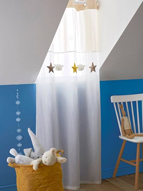 Curtain, Dreamin' of Stars Theme WHITE LIGHT SOLID WITH DESIGN - vertbaudet enfant