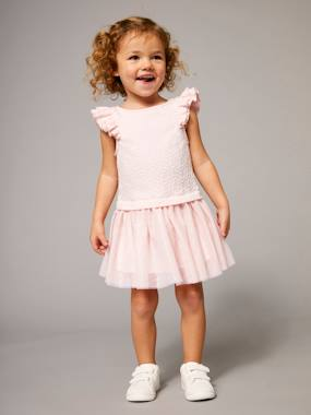 Vertbaudet Sale-Girls' Dual Fabric 2-in-1 Dress