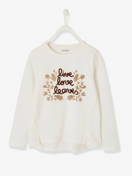 Long-Sleeved, Printed Top for Girls WHITE LIGHT SOLID WITH DESIGN - vertbaudet enfant