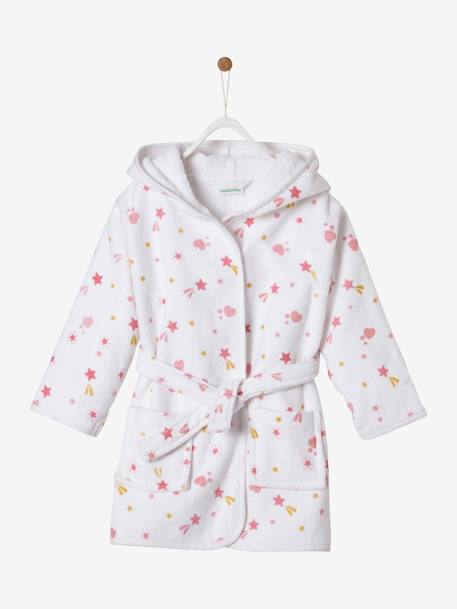 Bathrobe for Babies, Shooting Stars Theme WHITE LIGHT ALL OVER PRINTED - vertbaudet enfant