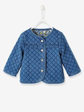Schoolwear-Baby-Reversible Jacket for Babies, Denim & Jungle Motifs