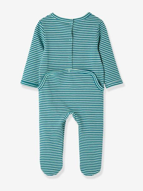 Pack of 2 Cotton Pyjamas for Babies, Press Studs on the Back GREEN DARK 2 COLOR/MULTICOLORR - vertbaudet enfant