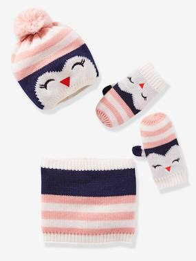 Girls-Accessories-Winter Hats, Scarves, Gloves & Mittens-Penguin Beanie + Snood + Glove Set for Girls