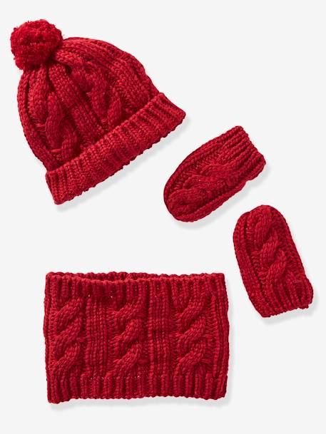 Knitted Beanie, Snood & Gloves Set for Babies GREY DARK SOLID+RED DARK SOLID - vertbaudet enfant