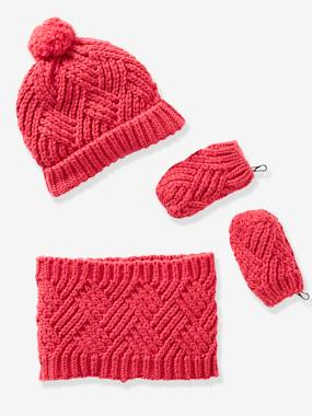 Baby-Hats & Accessories-Baby Beanie, Mittens & Snood Set, in Fancy Knit
