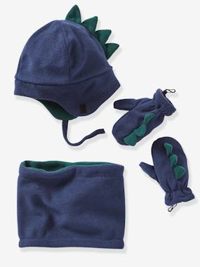 Boys-Accessories-Polar Fleece Set, Chapka + Snood + Gloves, for Boys