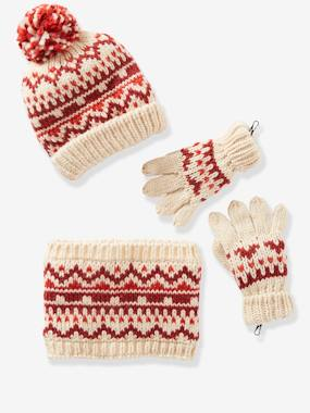 Girls-Accessories-Beanie + Snood + Gloves/Mittens in Jacquard Knit for Girls
