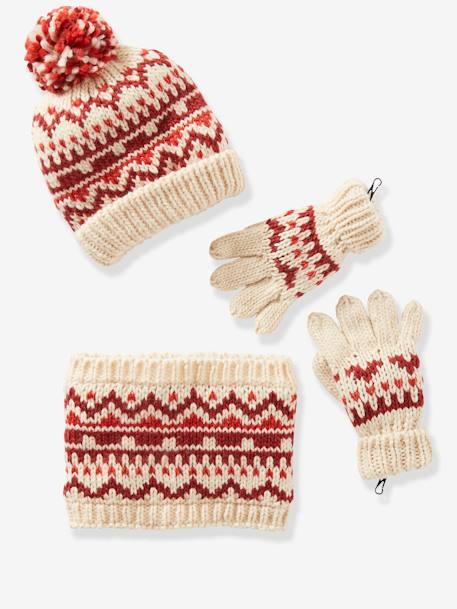 Beanie + Snood + Gloves/Mittens in Jacquard Knit for Girls RED MEDIUM ALL OVER PRINTED - vertbaudet enfant