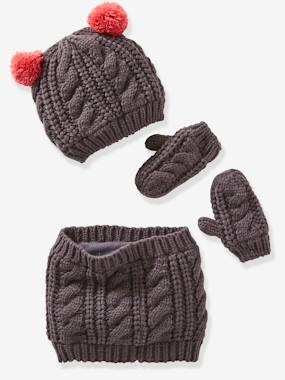 Girls-Accessories-Winter Hats, Scarves, Gloves & Mittens-Fancy Knit Beanie + Snood + Gloves for Girls