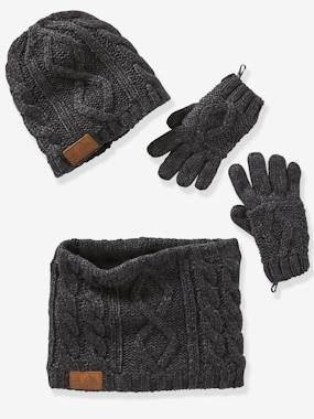 Boys-Accessories-Cable-Knit Beanie + Snood + Gloves for Boys