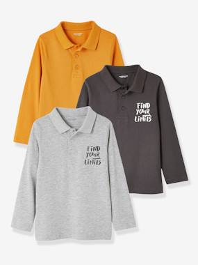 Vertbaudet Sale-Boys-Tops-Pack of 3 Polo Shirts for Boys
