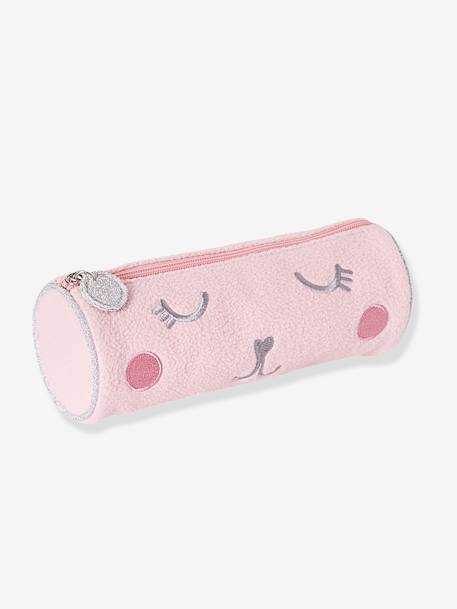 Plush Pencil Case for Girls WHITE LIGHT SOLID WITH DESIGN - vertbaudet enfant