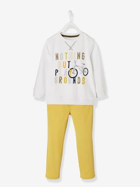 Vertbaudet Sale-Boys-Trousers-Printed Top + Slim Leg Trousers for Boys