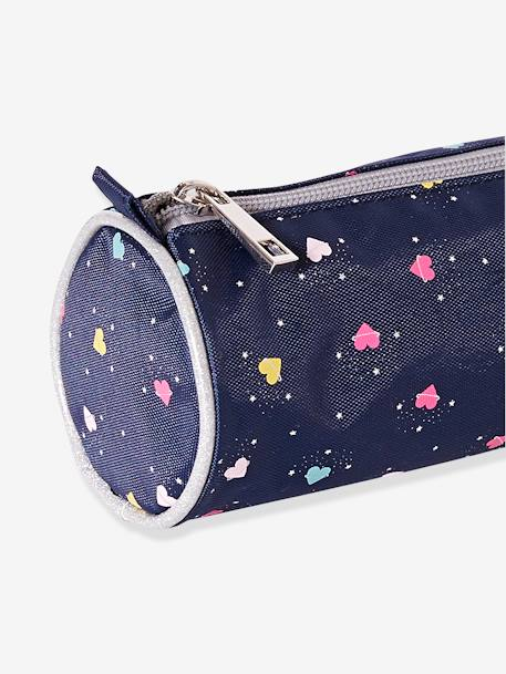 School Pencil Case with Hearts for Girls BLUE DARK SOLID WITH DESIGN - vertbaudet enfant