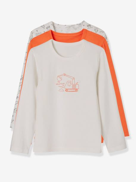 Pack of 2 Stretch Long-Sleeved Tops for Boys WHITE LIGHT SOLID WITH DESIGN - vertbaudet enfant