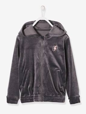 Girls-Cardigans, Jumpers & Sweatshirts-Velour Jacket with Zip for Girls