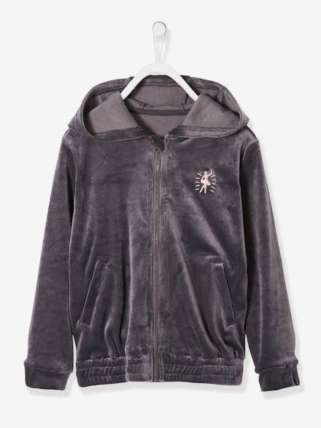 a986b6b96 Velour Jacket with Zip for Girls - grey dark solid with design, Girls