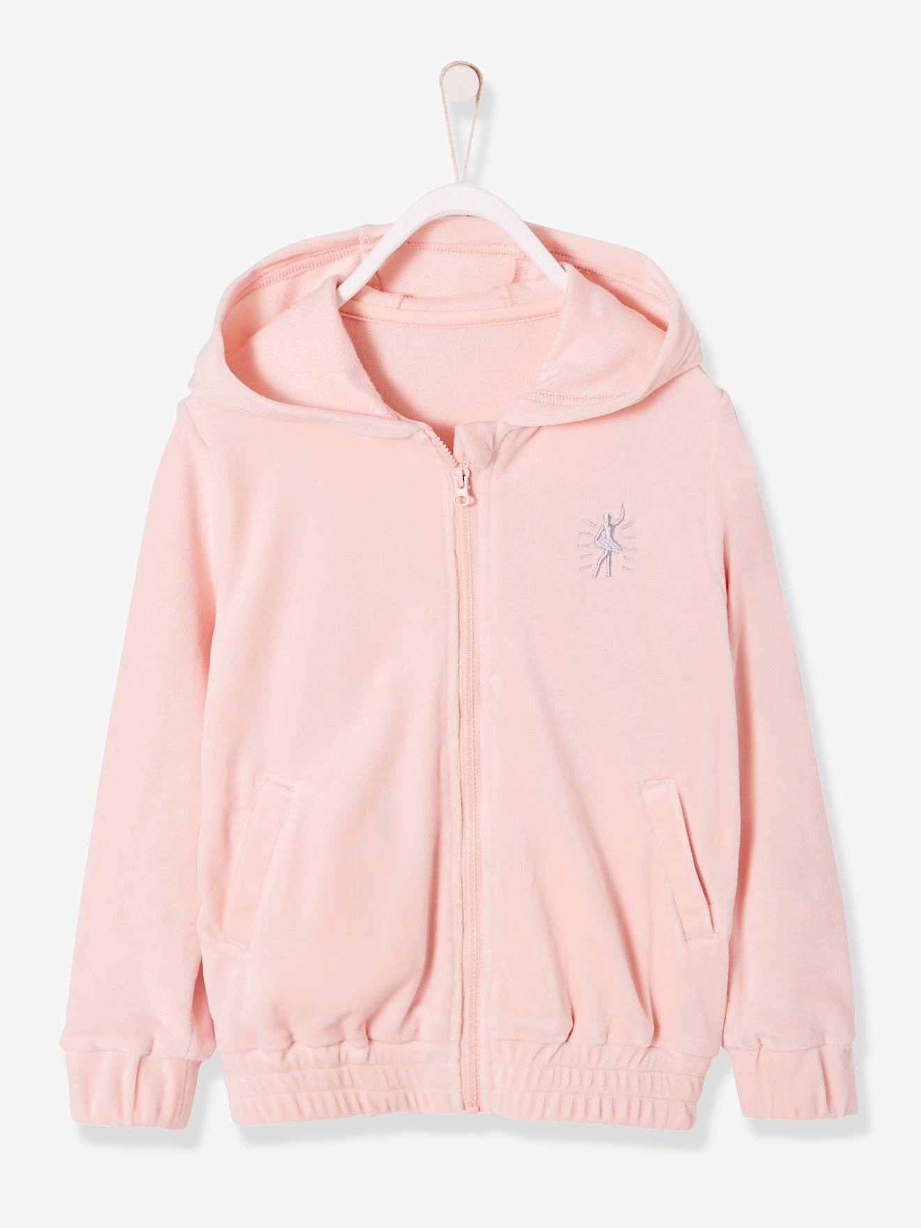 Sweat zippé fille en velours rose pale, Fille