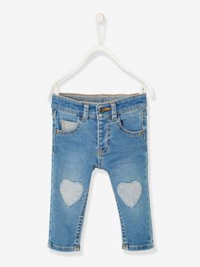 Baby-Trousers & Jeans-Jeans with Heart-Shaped Patches, for Baby Girls