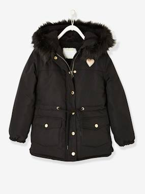 Vertbaudet Sale-Girls-Coats & Jackets-Parka with Sherpa Lining for Girls
