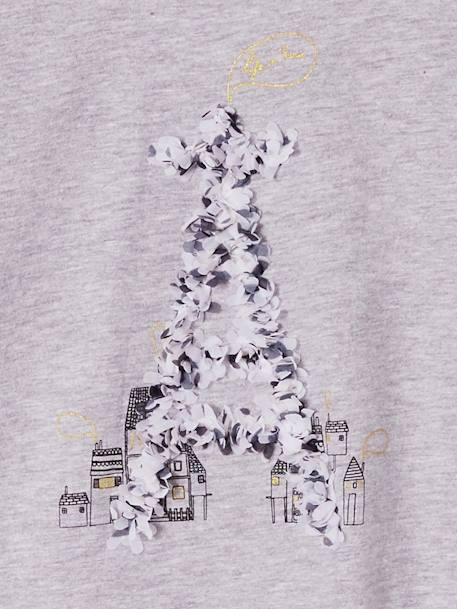 Long-Sleeved Top with the Eiffel Tower, for Girls GREY LIGHT SOLID WITH DESIGN+YELLOW DARK SOLID WITH DESIGN - vertbaudet enfant