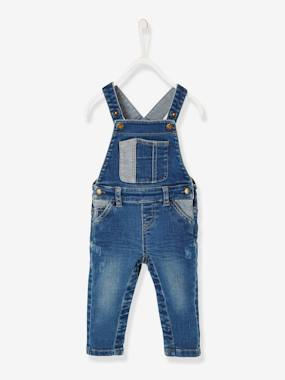 Baby-Dungarees & All-in-ones-Washed-Look Denim Dungarees for Baby Boys