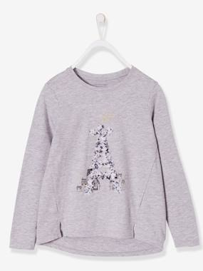 Vertbaudet Sale-Girls-Long-Sleeved Top with the Eiffel Tower, for Girls