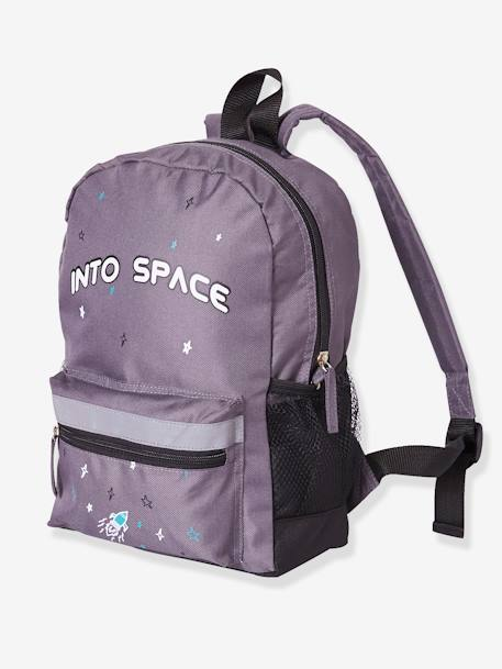 Backpack for Boys, Into space GREY DARK SOLID WITH DESIGN - vertbaudet enfant