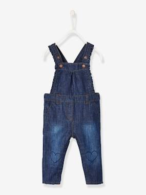 Baby-Dungarees & All-in-ones-Denim Dungarees with Frills, for Baby Girls