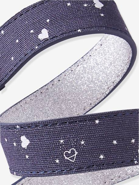 Reversible Leather Belt for Girls BLUE DARK ALL OVER PRINTED - vertbaudet enfant