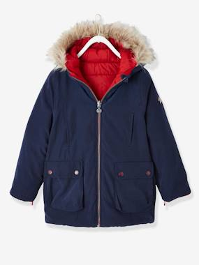Girls-Coats & Jackets-Reversible Parka for Girls