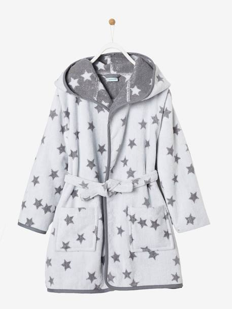 Hooded Bathrobe for Children with Star Print BLUE MEDIUM ALL OVER PRINTED+GREY DARK ALL OVER PRINTED+PINK BRIGHT ALL OVER PRINTED+WHITE LIGHT ALL OVER PRINTED - vertbaudet enfant