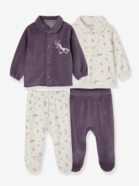 Vertbaudet Sale-Baby-Pack of 2 Two-Piece Pyjamas for Babies in Velour
