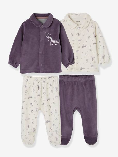 Pack of 2 Two-Piece Pyjamas for Babies in Velour PURPLE DARK 2 COLOR/MULTICOLOR - vertbaudet enfant