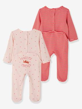 Baby-Pyjamas-Pack of 2 Cotton Pyjamas, Press Studs on the Back