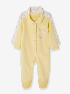 Baby-Pyjamas-Pack of 2 Velour Pyjamas for Babies, Press Studs on the Front