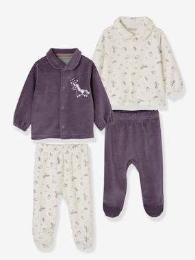 pyjama-Baby-Pack of 2 Two-Piece Pyjamas for Babies in Velour
