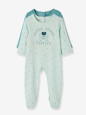 Schoolwear-Baby-Pack of 2 Cotton Pyjamas for Babies, Press Studs on the Back