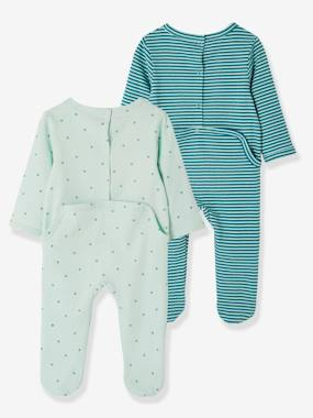 Baby-Pyjamas-Pack of 2 Cotton Pyjamas for Babies, Press Studs on the Back