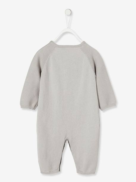 Knitted Jumpsuit for Newborn Babies in Organic Cotton GREY LIGHT SOLID+WHITE LIGHT SOLID - vertbaudet enfant