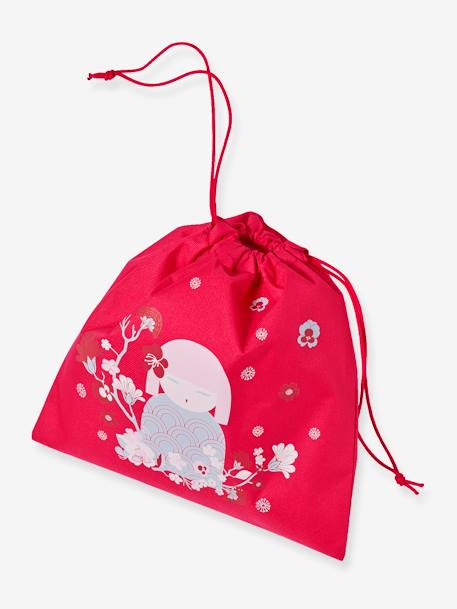 Lunch Bag with Japanese Doll, for Girls RED LIGHT SOLID WITH DESIGN - vertbaudet enfant